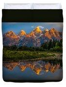 Dramatic Grand Teton Sunrise Duvet Cover