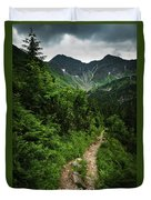 Dramatic Mountain Landscape With Distinctive Green Duvet Cover