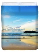 Dramatic Scene Of Sunset On The Beach Duvet Cover