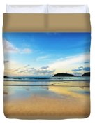 Dramatic Scene Of Sunset On The Beach Duvet Cover by Setsiri Silapasuwanchai