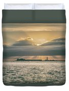 Dramatic Sky Over Hurst Castle Duvet Cover