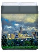 Dramatic Sky With Clouds Over Charlotte Skyline Duvet Cover