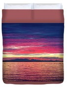 Dramatic Sunset Colors Over Birch Bay Duvet Cover