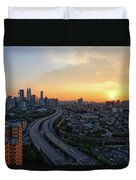Dramatic Sunset Over Kuala Lumpur City Skyline Duvet Cover