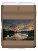 Dramatic Sunset Over The Misty River Duvet Cover
