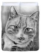 Drawing Of A Cat In Black And White Duvet Cover
