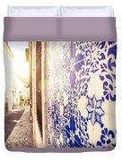 Drawing Tiles On Bairro Alto Walls In Lisbon Duvet Cover