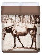 Drawn Ranch Horse Duvet Cover