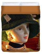 Dream Girl With Hat And Pearls Duvet Cover