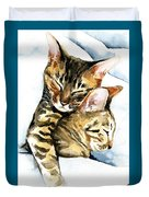 Dreamland - Bengal And Savannah Cat Painting Duvet Cover