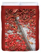 Dried Chili Peppers Duvet Cover