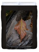Dried Leaf On Log Duvet Cover