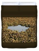 Dried Leaves In A Pond Duvet Cover