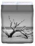 Driftwood Beach In Black And White Duvet Cover