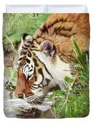 Drinking Tiger Duvet Cover