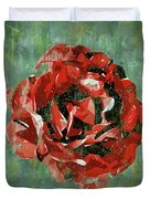 Dripping Poster Rose On Green Duvet Cover