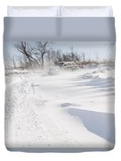 Driving In Drifting Snow Duvet Cover