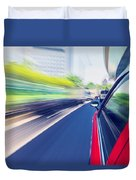 Driving Through The City By Taxi Duvet Cover