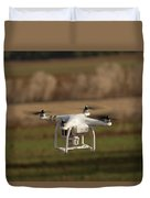 Drone Fly Above The Field Duvet Cover