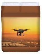Drone Flying On Sunset Duvet Cover