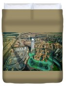 Dubai Downtown Aerial View By Sunset, Dubai, United Arab Emirates Duvet Cover