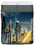 Dubai Downtown Architecture And A Highway.  Duvet Cover