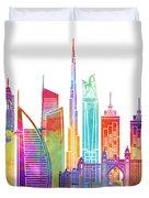 Dubai Landmarks Watercolor Poster Duvet Cover