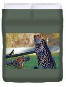 Dubbo Zoo Queen - King Cheetah And Cub Duvet Cover