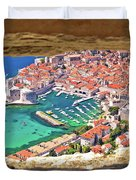 Dubrovnik Historic City And Harbor Aerial View Through Stone Win Duvet Cover