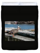 Duck About To Jump. Duvet Cover