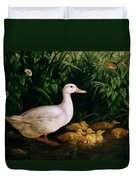 Duck And Ducklings Duvet Cover by English School