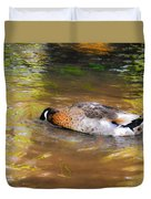 Duck Submerge It Head Into The Water Looking For Food In The River 2 Duvet Cover