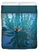 Duck Swimming In The Blue Lagoon Duvet Cover