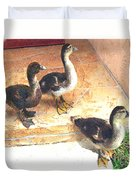 Ducklings Come To Visit Duvet Cover