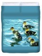 Ducklings Digital Water Color Duvet Cover