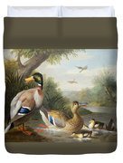 Ducks In A River Landscape Duvet Cover by Jakob Bogdany