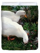 Ducks In The Garden At The Shipwright's Cafe Duvet Cover