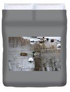 Ducks In Winter Duvet Cover