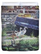 Ducks On Dockside Duvet Cover