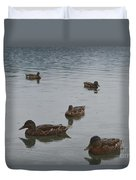 Ducks On Lake Bled Duvet Cover