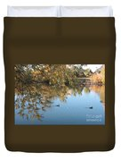 Ducks On Peaceful Autumn Pond Duvet Cover