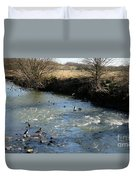Ducks On The River In Early Spring Duvet Cover