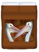 Duelling Pelicans Duvet Cover