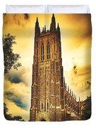 Duke University Chapel At Dusk Duvet Cover