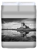 Dunguaire Castle In Black And White Duvet Cover
