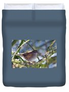 Dunnock On A Snowy Day In Winter Duvet Cover