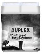 Duplex Yard Sign Stormy Sky In Bw Duvet Cover