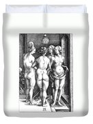 Durer Four Witches, 1497. For Licensing Requests Visit Granger.com Duvet Cover