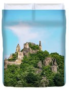 Durnstein Castle And Stone Outcroppings Duvet Cover