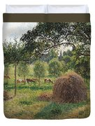 Dusk At Eragny Duvet Cover by Camille Pissarro